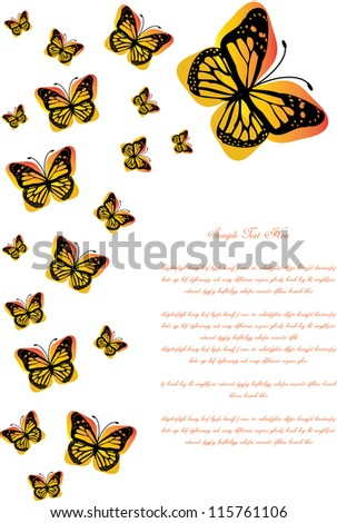 abstract vector backdrop design with glossy and gradient butterflies with place for your text isolated on white background
