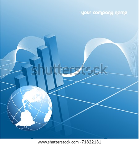 abstract vector backdrop with globe and bar graphs