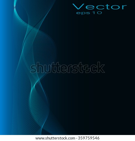 abstract vector background, bright blue glowing wave - stock vector