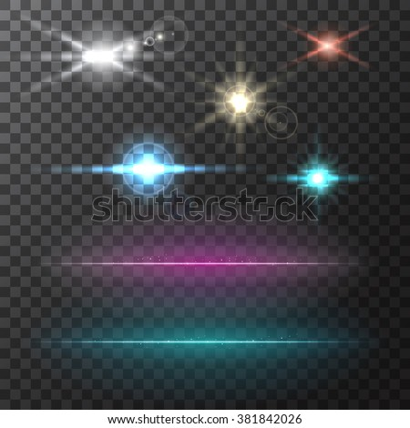 Abstract vector background. Bright neon lines. Glowing lights and stars. Colorful bright lens flares beams on transparent backdrop - stock vector