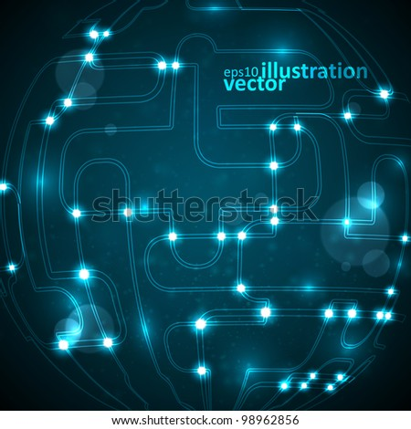 Abstract vector background, circuit board form of ball, technology illustration eps10 - stock vector