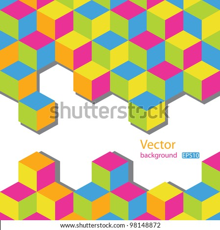 Abstract vector background. Colorful  cubes mosaic with white space for text. EPS10