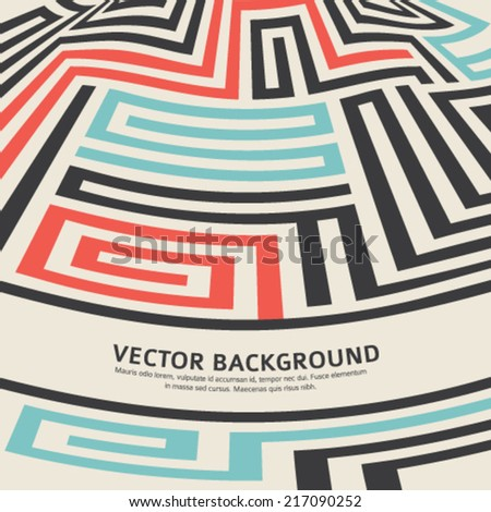 Abstract vector background design with maze texture and place for your text isolated. Good cover for a book on psychology, creative problem solving, logical thinking, the study of human relations  - stock vector