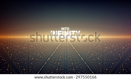 Abstract vector background. Glowing stars with illusion of depth and perspective. Abstract futuristic space background - stock vector