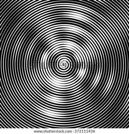Abstract vector background. Hypnotic spiral line with different width creates the image of geometric whirlpool. Optical illusion. - stock vector
