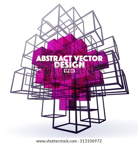 Abstract Vector Background made from cubes and lines. Basic form cube, polygonal design, cubes inside cage, 3D element, purple color. Abstract logo. Logo cube. Abstract background logo. - stock vector