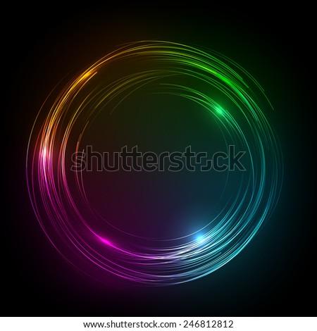 Abstract Vector Background - neon Circle behind Dark Design - stock vector