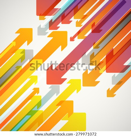 Abstract vector background of different color arrows. Design concept - stock vector