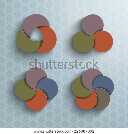 Abstract vector background of four models of stacked circles. Colorful design with shadows and patterns. - stock vector