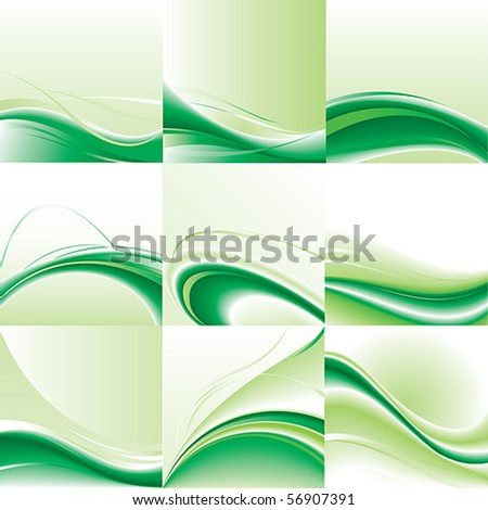 Abstract vector background set. Green design. - stock vector