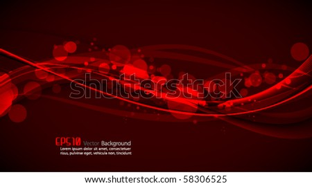 Abstract Vector Background - Shiny Red Waves - stock vector