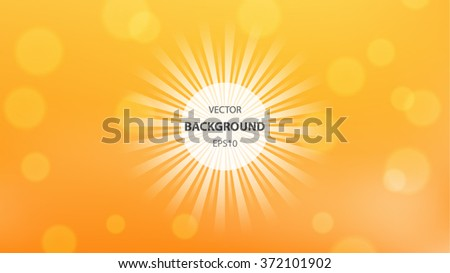Abstract vector background. Sun rays and bubbles blurred background template. 16x9 HD FullHD modern background design.