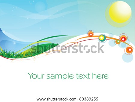 abstract vector background with an image of sun, sea, grass and herbs and a space for your text - stock vector