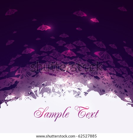 Abstract vector background with butterflies - stock vector