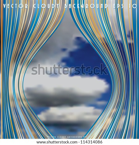 abstract vector background with cloudy sky on stage - stock vector