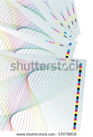 Abstract vector background with CMYK color check marks. - stock vector
