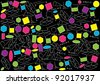 abstract vector background with color geometric figures on blackboard - stock vector