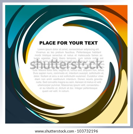 Abstract vector background with colorful swirl for text - stock vector