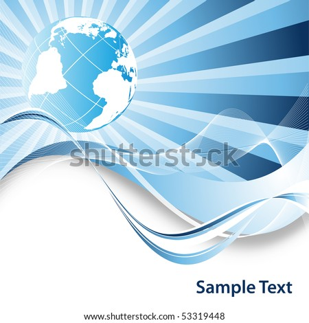 abstract vector background with copy space and globe