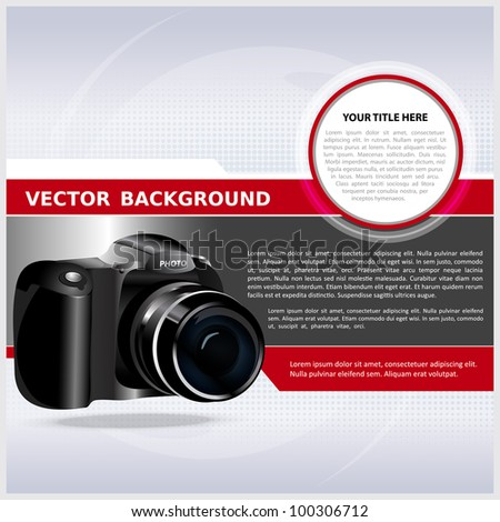 Abstract vector background with digital camera for text - stock vector