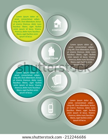 Abstract vector background with four labels for company and with place for text about company - stock vector