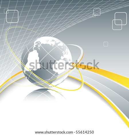 abstract vector background with globe and copy space - stock vector