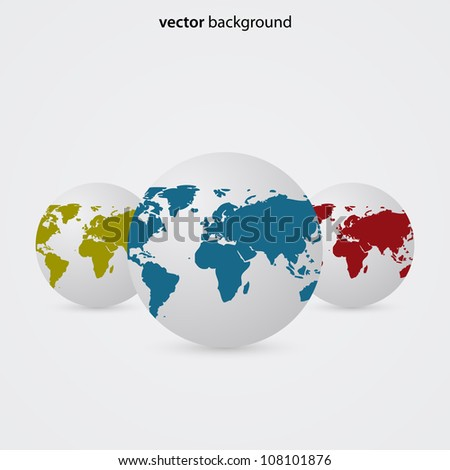 Abstract Vector Background with Globes - stock vector