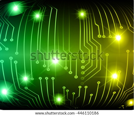 abstract vector background with high tech blue pink circuit board.