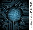 abstract  vector background with high tech circuit board - stock photo