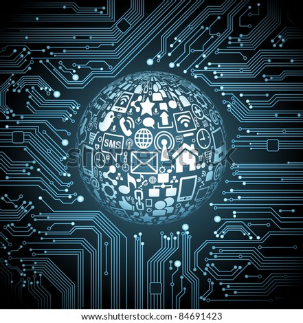 abstract vector background with high tech circuit board.communication in the global computer networks - stock vector