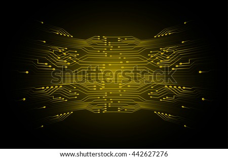 abstract vector background with high tech yellow circuit board.