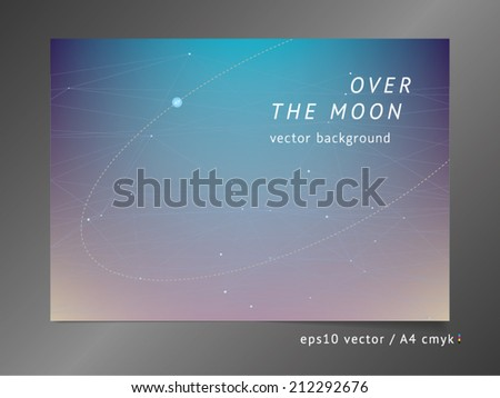 Abstract vector background with moonlight, sunrise, polygonal color surfaces with semi-transparent connecting lines, elliptical planet orbit, and dawn gradient effect on soft deep space mesh field.  - stock vector