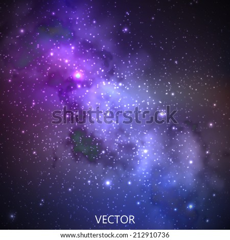 abstract vector background with night sky and stars. illustration of outer space and Milky Way - stock vector
