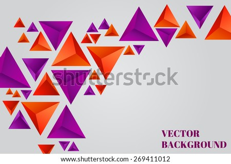Abstract vector background with orange and purple pyramids.Vector illustration