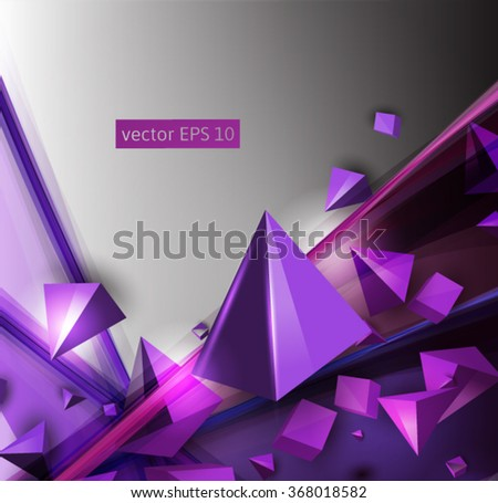 Abstract vector background with overlapping geometric elements with shadows - stock vector