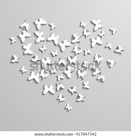 Abstract vector background with paper  butterfly in the heart form.