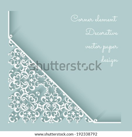 Abstract vector background with paper lace corner ornament, eps10 - stock vector