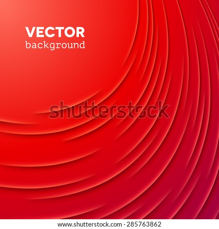 Abstract vector background with red cut paper layers - stock vector