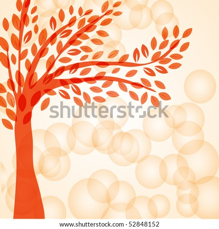 Abstract vector background with red tree. - stock vector