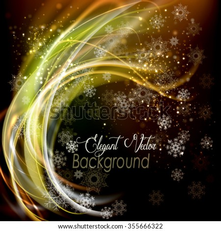 Abstract vector background with snowflakes and fibers. Festive vector frame - stock vector