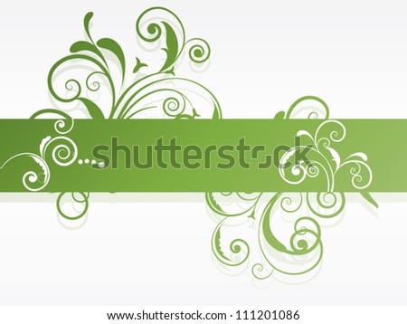 Abstract vector background with swirls and floral elements - stock vector