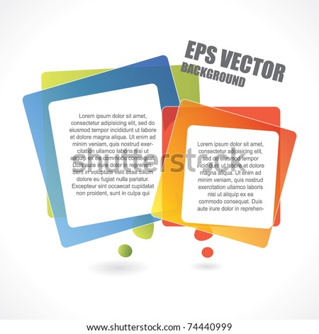 Abstract vector background with two rectangular speech bubbles - stock vector