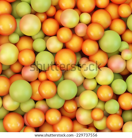 Abstract vector background with various balls. Spheric pattern. 3d vector illustration. - stock vector