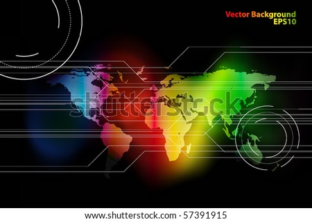 abstract vector background with world map. Eps10 - stock vector