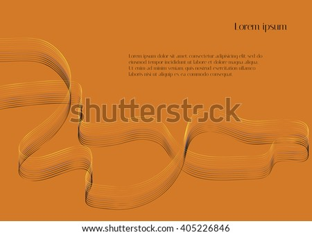 Abstract vector background. Yellow-black abstraction ribbon on a yellow background - stock vector