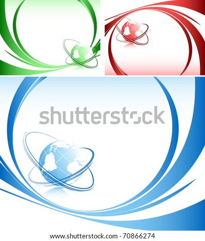abstract vector backgrounds with globe and lines - stock vector
