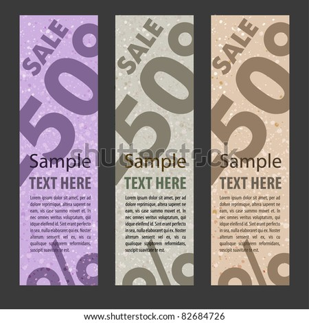 Abstract vector banner vertical set with sale percents - stock vector