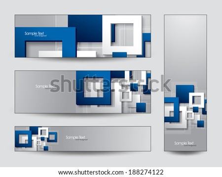 Abstract Vector Banners or Bookmarks. 3D Paper Squares. - stock vector
