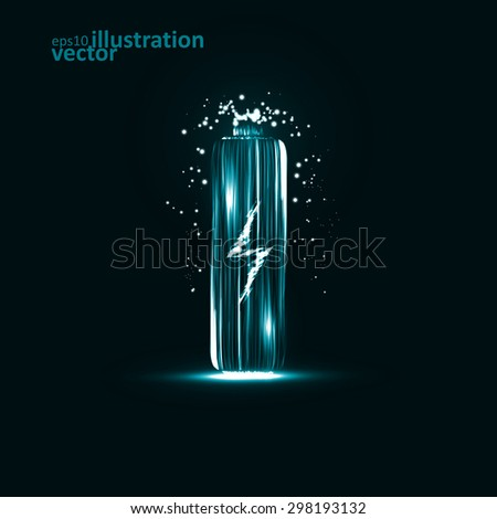 Abstract vector Battery. Creative dynamic element, light lines Illustrations. - stock vector