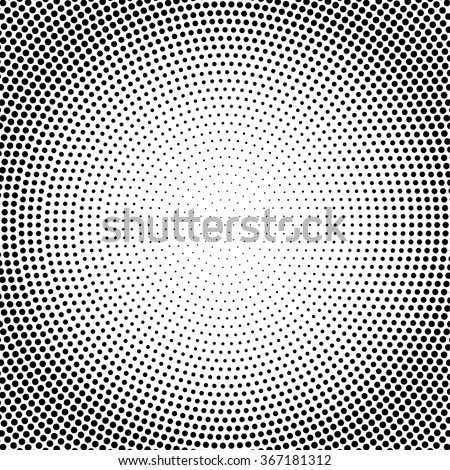 Abstract vector black and white dotted halftone background. Dot pattern. Dot radial - stock vector